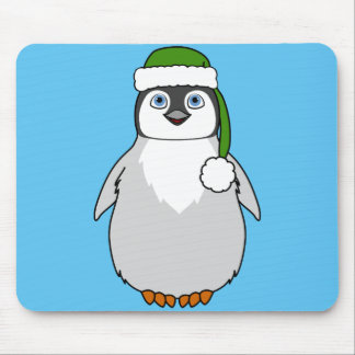 Baby Penguin with Green Santa Hat Mouse Pad