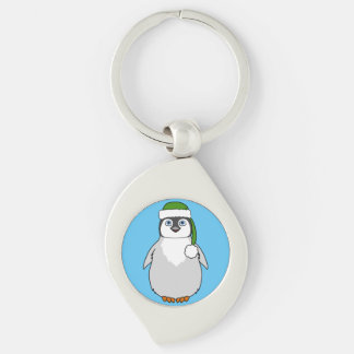 Baby Penguin with Green Santa Hat Silver-Colored Swirl Metal Keychain