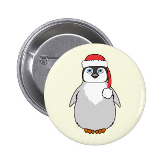 Baby Penguin with Red Santa Hat 2 Inch Round Button