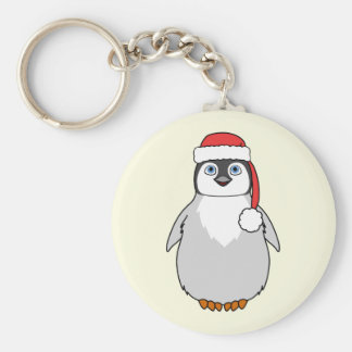 Baby Penguin with Red Santa Hat Basic Round Button Keychain