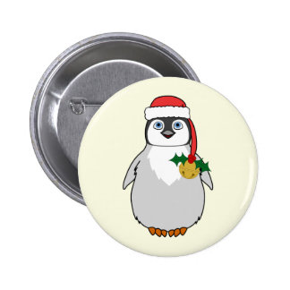 Baby Penguin with Red Santa Hat & Gold Bell 2 Inch Round Button