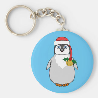 Baby Penguin with Red Santa Hat & Gold Bell Basic Round Button Keychain