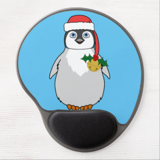 Baby Penguin with Red Santa Hat & Gold Bell Gel Mouse Pad