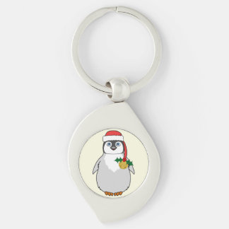 Baby Penguin with Red Santa Hat & Gold Bell Silver-Colored Swirl Metal Keychain