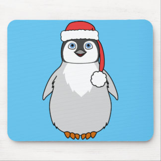 Baby Penguin with Red Santa Hat Mouse Pad