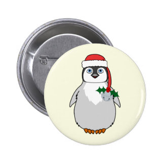 Baby Penguin with Red Santa Hat & Silver Bell 2 Inch Round Button