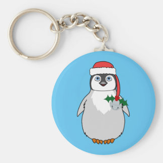 Baby Penguin with Red Santa Hat & Silver Bell Basic Round Button Keychain