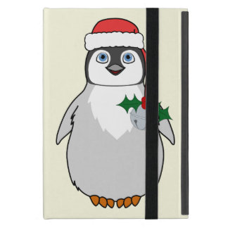 Baby Penguin with Red Santa Hat & Silver Bell Cover For iPad Mini