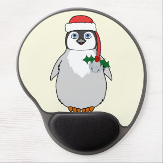 Baby Penguin with Red Santa Hat & Silver Bell Gel Mouse Pad