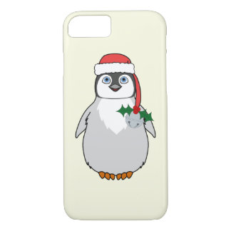 Baby Penguin with Red Santa Hat & Silver Bell iPhone 8/7 Case