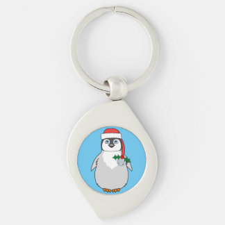 Baby Penguin with Red Santa Hat & Silver Bell Keychain