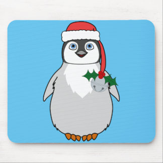 Baby Penguin with Red Santa Hat & Silver Bell Mouse Pad