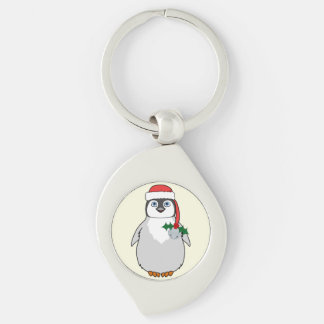 Baby Penguin with Red Santa Hat & Silver Bell Silver-Colored Swirl Metal Keychain