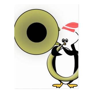 Baby Penguin with Tuba Postcard