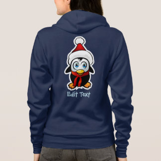 Baby Penguin With Xmas Hat Cartoon Hoodie