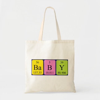 Baby periodic table name tote bag
