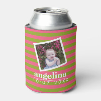 Baby Photo and Birthday Colorful Striped Pattern Can Cooler