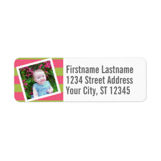 Baby Photo and Birthday Colorful Striped Pattern Return Address Label