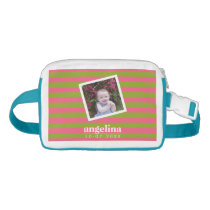 Baby Photo and Birthday Colorful Striped Pattern Waist Bag