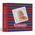Baby Photo and Birthday Cute Boy Striped Pattern 3 Ring Binder