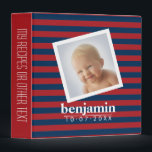 """Baby Photo and Birthday Cute Boy Striped Pattern 3 Ring Binder<br><div class=""""desc"""">Classic Navy Blue and Red Rugby Stripes - A preppy pattern with bold patterns and a place for baby&#39;s birthdate. If your art still needs to be adjusted, click on the Customize This button. This will take you to a design area where you can move things around and even change...</div>"""