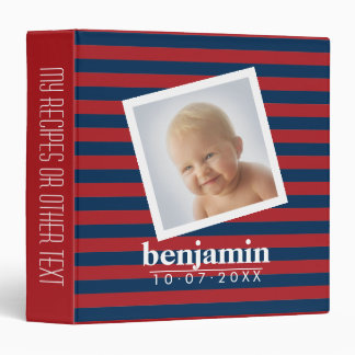 Baby Photo and Birthday Cute Boy Striped Pattern 3 Ring Binder