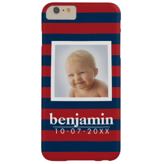 Baby Photo and Birthday Cute Boy Striped Pattern Barely There iPhone 6 Plus Case