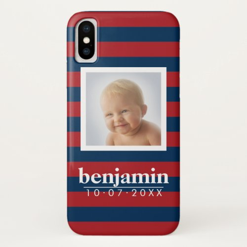 Baby Photo and Birthday Cute Boy Striped Pattern Phone Case