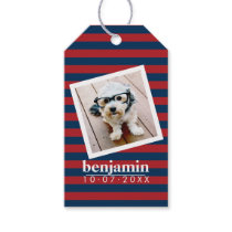 Baby Photo and Birthday Cute Boy Striped Pattern Gift Tags