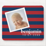 Baby Photo and Birthday Cute Boy Striped Pattern Mouse Pad