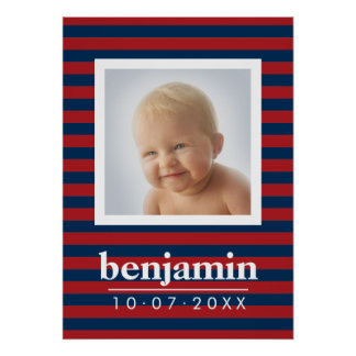 Baby Photo and Birthday Cute Boy Striped Pattern Poster