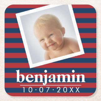 Baby Photo and Birthday Cute Boy Striped Pattern Square Paper Coaster