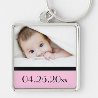 Baby photo and date of birth Silver-Colored square keychain