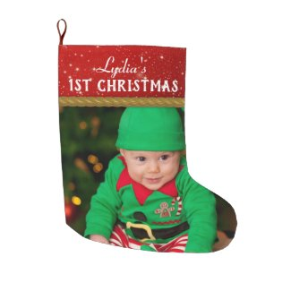 Baby Photo Baby's First Christmas Large Christmas Stocking