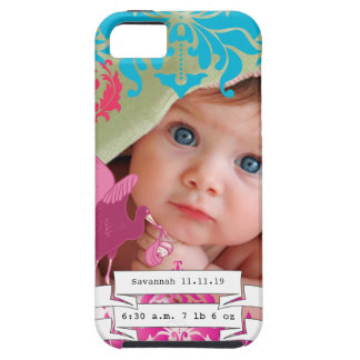 Baby Photo Baby Stats Damask Burnt Edge iPhone 5 iPhone SE/5/5s Case