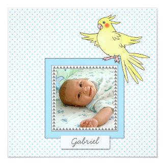 Baby Photo Bird Blue  -  Birth Announcement
