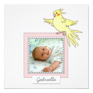 Baby Photo Bird Pink Birth Announcement