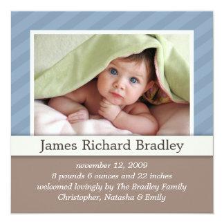 Baby Photo Birth Announcement ~ Blue Duotones