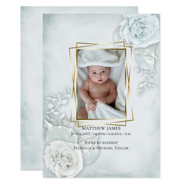 Baby Photo Birth Announcement Blue Floral
