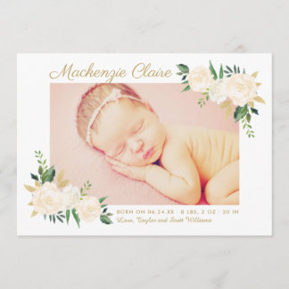 Baby Photo Birth Announcement Card | Blush Blooms