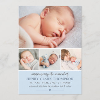 Baby Photo Birth Announcement Card | Light Blue
