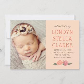 Baby Photo Birth Announcement Card | Peach Flowers