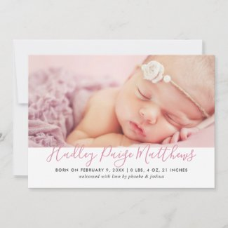 Baby Photo Birth Announcement Card | Pink Script