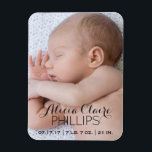 "Baby Photo Birth Announcement | Modern Script Magnet<br><div class=""desc"">Smile every time you pass by this modern baby photo birth announcement magnet, whether it&#39;s displayed at home or at the office to show off to coworkers. Background is is full custom photo of your newborn baby. Elegant script lettering with personalized baby&#39;s name at bottom and birth details, including birth...</div>"