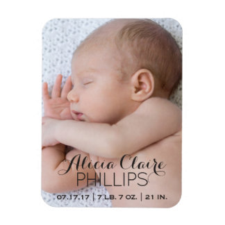 Baby Photo Birth Announcement | Modern Script Magnet