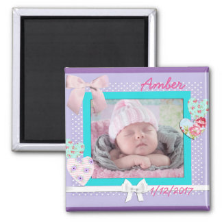 Baby Photo Birthday Announcement Purple and Aqua 2 Inch Square Magnet