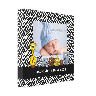 Baby Photo Canvas Zebra Pattern Jungle Animals Gallery Wrapped Canvas