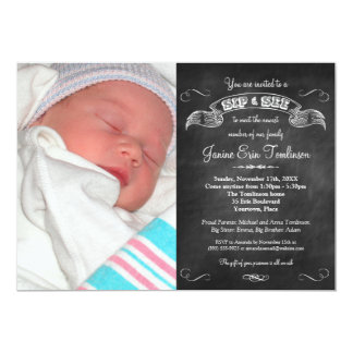 Baby Photo Chalkboard Sip and See Party Card