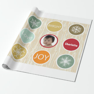 Baby Photo Christmas Holiday Merry Bright Wrapping Paper