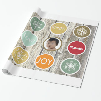 Baby Photo Christmas Holiday PEACE JOY Wrapping Paper